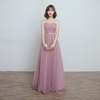Korean style wedding sisters dress slimming bridesmaid dress (F) (F)