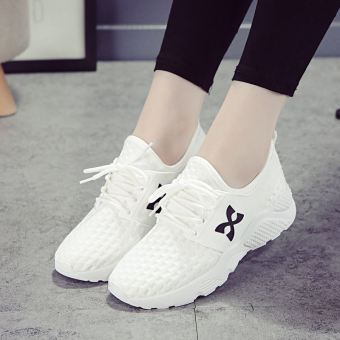 Korean-style white female summer shoes sports shoes (White)