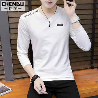 Korean-style white round neck Slim fit men's top autumn long-sleeved t-shirt (109-white)