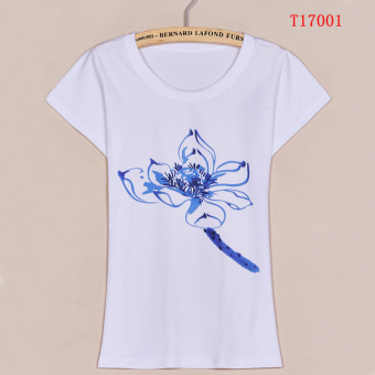 Korean-style white Slim fit Tang Zuan bottoming Top cotton Print short-sleeved t-shirt (T17001)