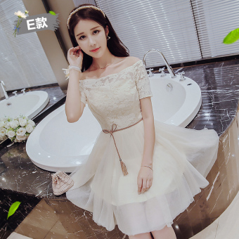 Korean style winter New style Slim fit sisters dress bridesmaid dress (Champagne color E Models)