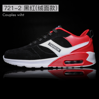Korean-style winter Running Men's male shoes trendy shoes (721-2 [suede models] Black and red)