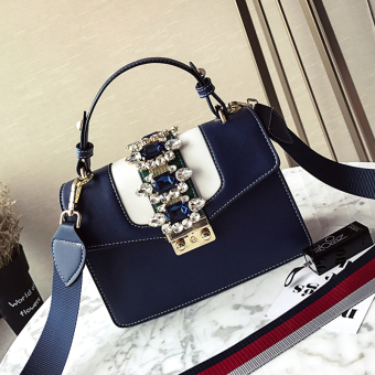 Korean-style women contrasting color women's bag small bag (Blue)