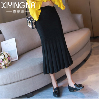 Korean-style women high-waisted pleated skirt knitted skirts (Black)