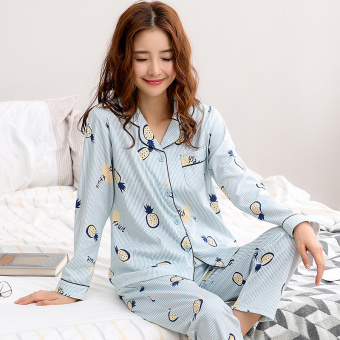 Korean-style women's cotton long-sleeved thick tracksuit pajamas (QF2716 #)