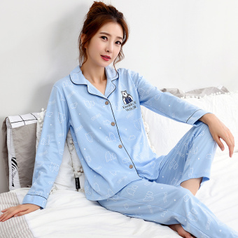 Korean-style women's cotton long-sleeved thick tracksuit pajamas (Y1980 #)