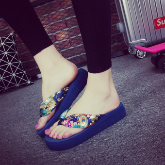 Korean-style Women's flip-flops (Semi-high heeled blue bronze flower)