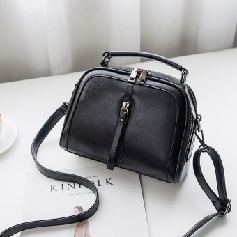 Korean-style women's handbag messenger bag women's bag (Black)