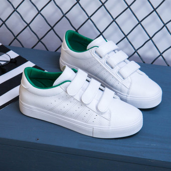 Korean-style Women's Hook-loop Skate Canvas - White (White and green)