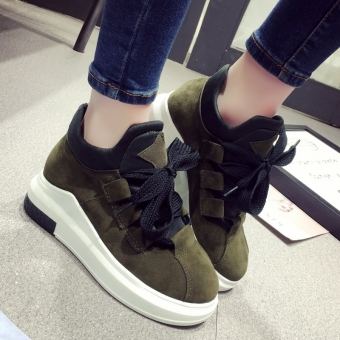 Korean-style Women's Leisure Increased Muffin Sole Running Shoes (Female Models + Green)