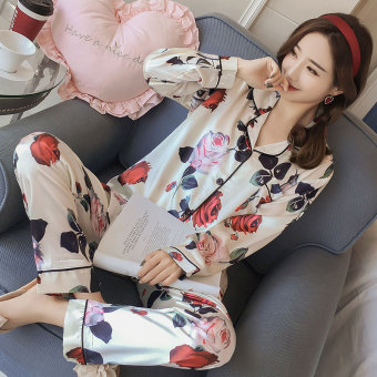 Korean-style Women's Long Sleeve Silk Pajamas Set (301 # Rose)