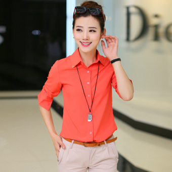 Korean-style women's long-sleeved shirt (Watermelon Red)