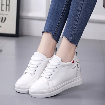 Korean-style Women's Round Head Hidden Elevator Athletic Shoes (White)