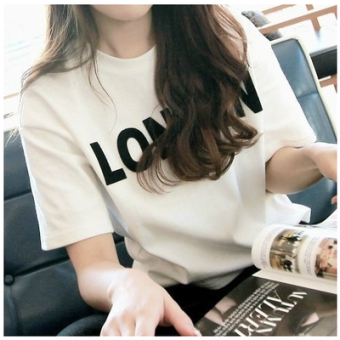 Korean-style women's short sleeved New style Slim fit bottoming shirt white round neck t-shirt (White)
