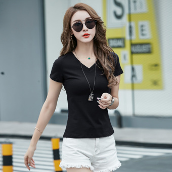 Korean-style women's short sleeved v-neck slim fit summer Top white Slim fit T-shirt (Black-v-neck)