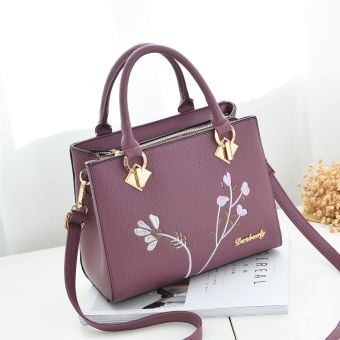 Korean-style women's shoulder handbag women's bag shoulder bag (Deep Purple + to send wallet)