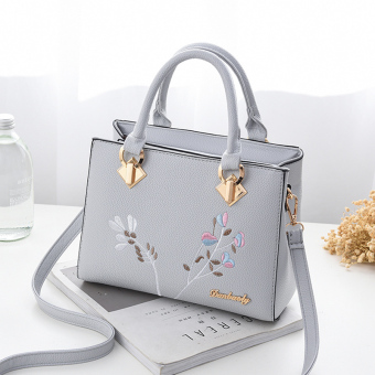 Korean-style women's shoulder handbag women's bag shoulder bag (Shishang gray + to send wallet)