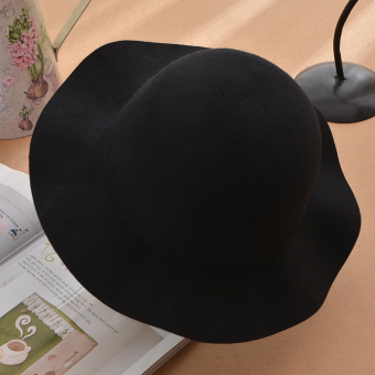 Korean-style WOOL Wool felt hat bucket hat women's hat (Black)
