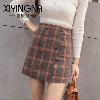 Korean-style woolen Spring and Autumn New style half-length skirt (PARK'S plaid)