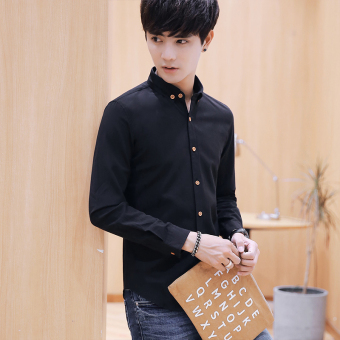 Korean-style young men's New style white shirt long-sleeved shirt (Black)