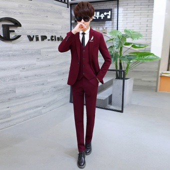 Korean-style Youth Student men's suit (Wine red color)