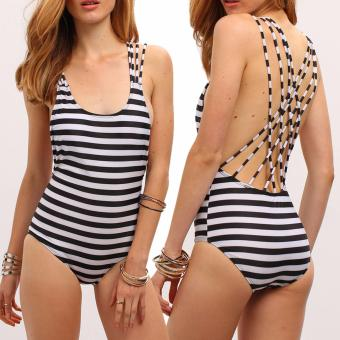 Korean Stylish Striped Straps One Piece Swimwear Swimsuit