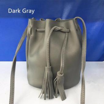 Korean Tassel Drawstring Bucket Bag Cross-body Sling Bag, Dark Gray - 2