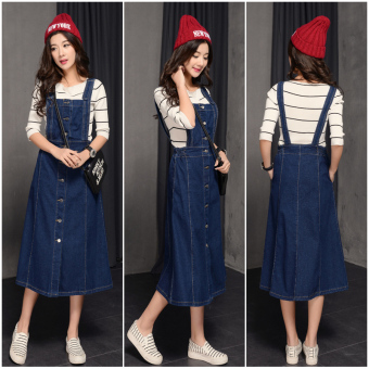 Korean version of the denim skirt long strap dress for women - intl