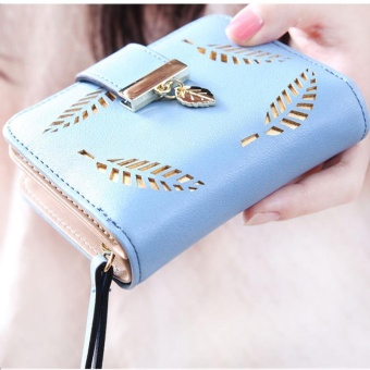 Korean Version of the Female Women's Mini Small Wallet Japan andSouth Korea Simple Buckle Folding Harajuku Personality ShortParagraph Cute Purse Blue - intl Price Philippines