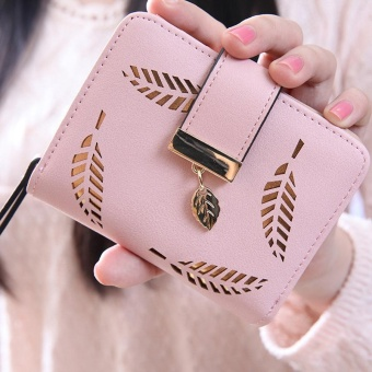 Korean Version of the Female Women's Mini Small Wallet Japan andSouth Korea Simple Buckle Folding Harajuku Personality ShortParagraph Cute Purse Pink - intl Price Philippines