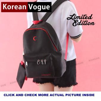 Korean Vogue 2 IN 1 KV7002 Mysterious Black Series Student Unique Style Nylon Casual Backpack Bag Set