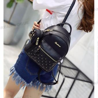 Korean Vogue 2 Pieces KV4009 Mysterious Black Series High Quality Synthetic Leather Student Unique Style Casual Backpack Bag Set - 5