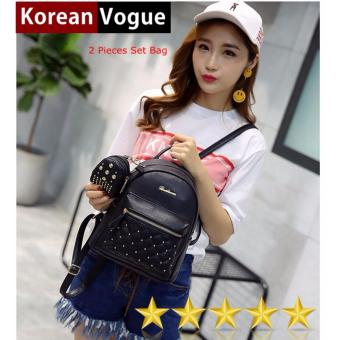 Korean Vogue 2 Pieces KV4009 Mysterious Black Series High Quality Synthetic Leather Student Unique Style Casual Backpack Bag Set