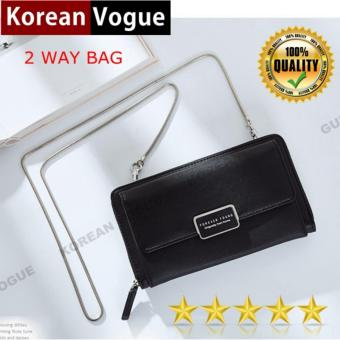 Korean Vogue 2 Way SB-017 Mysterious Black Series Synthetic Leather Bag Exquisite Multi-function Long Section Cellphone Hand Bag Shoulder Bag Women Wallet Card Holder with Chain Strap