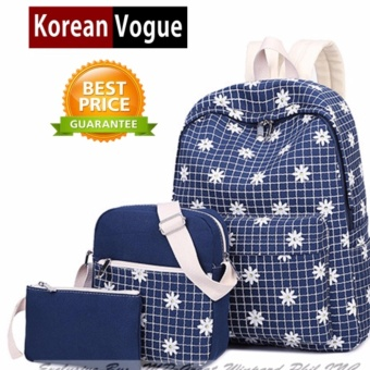 KOREAN VOGUE 3 Pieces KV3001 Women Leisure Backpack Ladies Bag Set(Dark Blue)