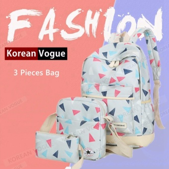 KOREAN VOGUE KV3003 Ladies Nylon 3 Pieces Student Backpack Shoulder Bag Set(Grey)