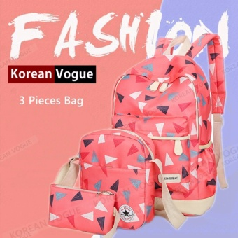 KOREAN VOGUE KV3003 Nylon 3 Pieces Backpack Ladies Shoulder Bag Set(Watermelon Red)