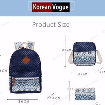 KOREAN VOGUE KV3004 Nylon Polka Dots 3 Pieces Backpack Shoulder Bag Set (Light Blue) - 4