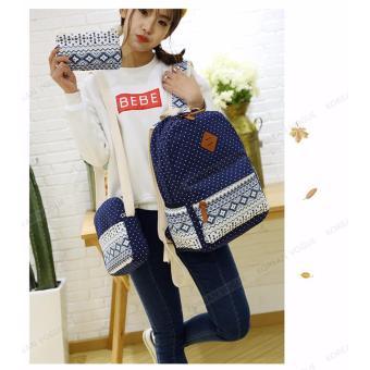 KOREAN VOGUE KV3004 Nylon Polka Dots 3 Pieces Backpack Shoulder Bag Set (Light Blue) - 3
