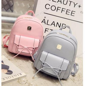 KOREAN VOGUE KV4004 High Quality Ladies Smooth Faux Leather 2 Pieces Women Unique Backpack Bag Set (Grey) - 4