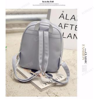 KOREAN VOGUE KV4004 High Quality Ladies Smooth Faux Leather 2 Pieces Women Unique Backpack Bag Set (Grey) - 5
