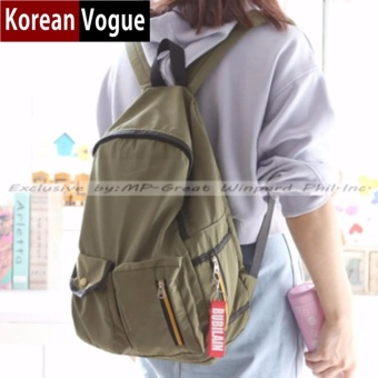 KOREAN VOGUE KV7005 Women Nylon Backpack Bag (Army Green)