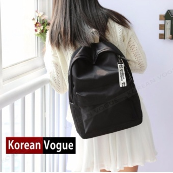 KOREAN VOGUE KV7006 Waterproof Nylon Women Unique Student FashionBackpack Bag(Black)