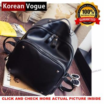 Korean Vogue KV8005 Mysterious Black Series Synthetic Leather Student Unique Rivet Style Casual Backpack Bag