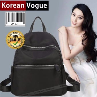 Korean Vogue KV8007 Mysterious Black Series Student Small Size Unique Style Nylon Casual Backpack Bag
