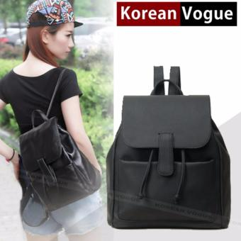 Korean Vogue KV8018 Mysterious Black Series Student Synthetic Leather Unique Style Casual Backpack Bag