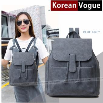 KOREAN VOGUE KV8018 Women Unique Style PU Backpack Ladies Bag(Blue Grey)