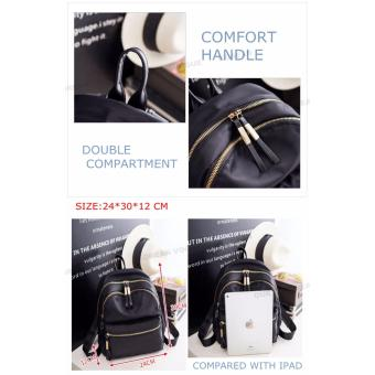 Korean Vogue KV8051 Mysterious Black Series Student Unique DoubleCompartment Style Nylon Casual Backpack Bag - 5