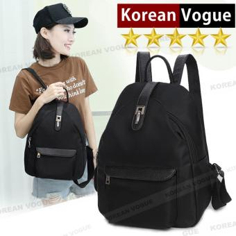 Korean Vogue KV8054 Mysterious Black Series Student Unique Mulyiple Pocket Nylon Casual Backpack Bag
