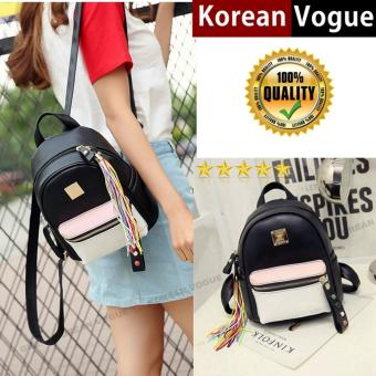 Korean Vogue KV8058 Small Size Mysterious Black Series High Quality Synthetic Leather Student Unique Plain Style Casual Backpack Bag With FREE Charm(Black/Pink)
